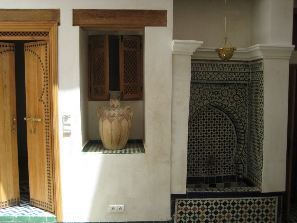 The main courtyard of the Guest House in Fez, Morocco.