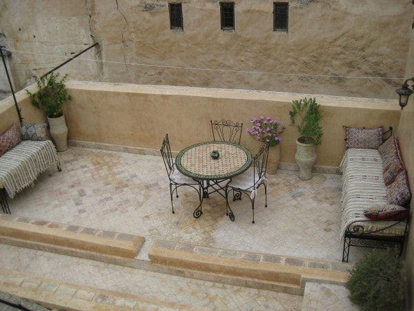 A beautiful terrace of the Guest House in Fez, Morocco.