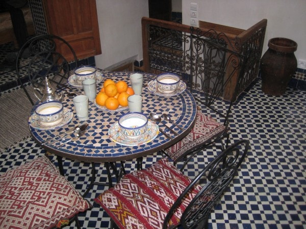 A photo of the courtyard of the Moroccan Holiday House in Fez, Morocco.